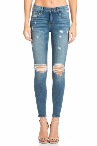 Mid Rise Ankle Skinny with Knee Holes