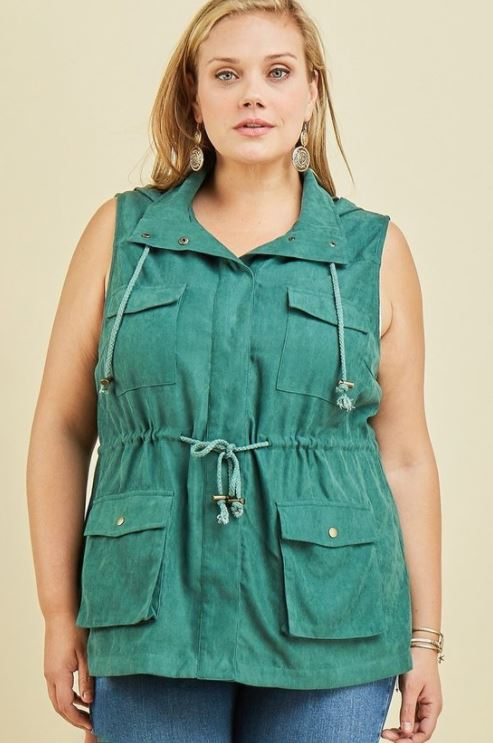 Plus Vest with Drawstring Waist