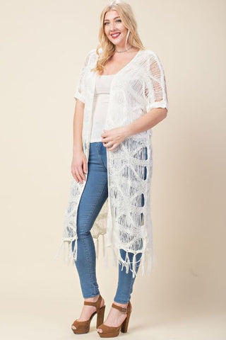 Plus Crochet Knit Duster