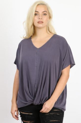 V neck Plus Knit top with gathering