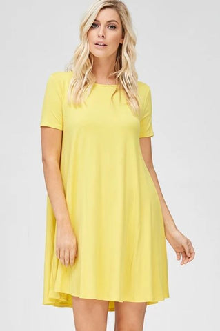 Short Sleeve Solid Dress