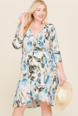 Floral Blush Plus Dress