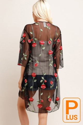 Plus Rose Embroidered Kimono