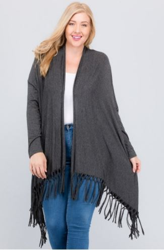 Plus Solid Long Cardigan Featuring Bottom Fringe