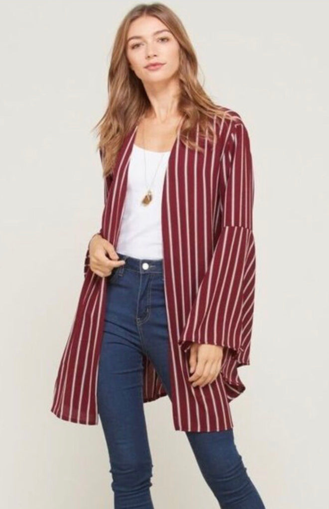 Wine Pin Striped Plus Bell Sleeve Kimono