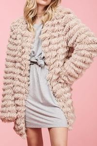 Faux Fur Jacket with Open Front