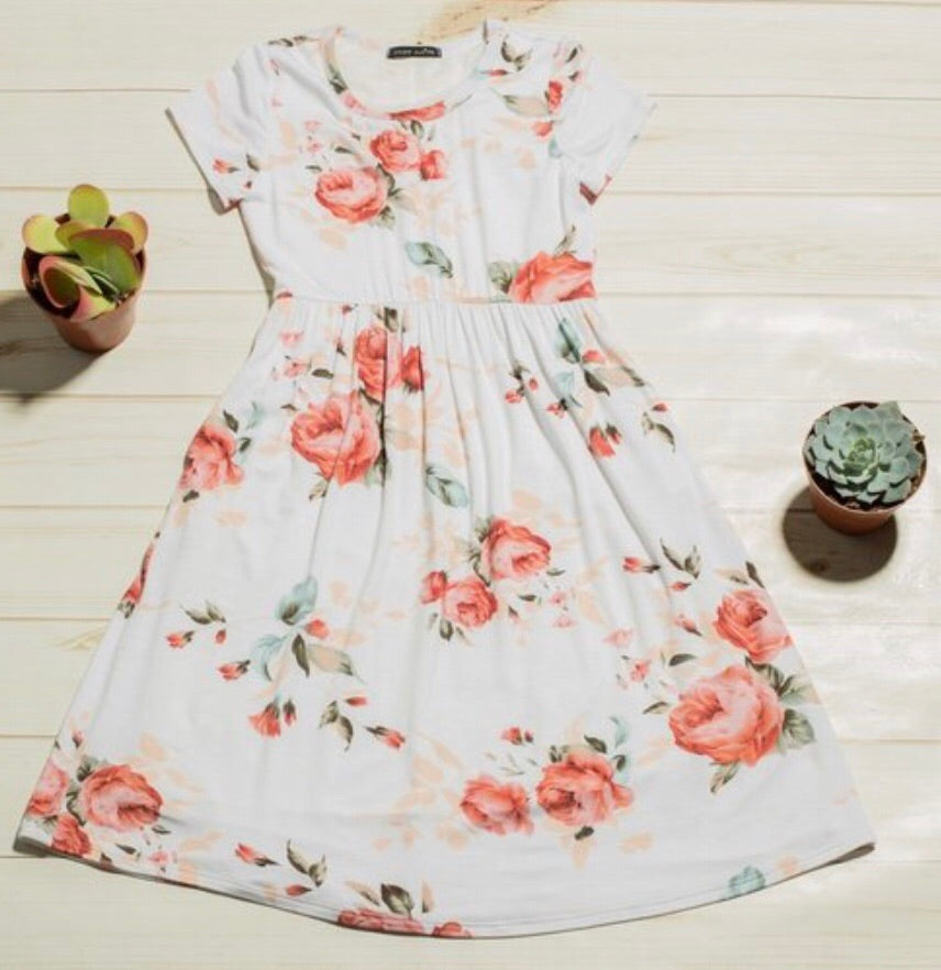 Girls Soft Floral Swing Dress