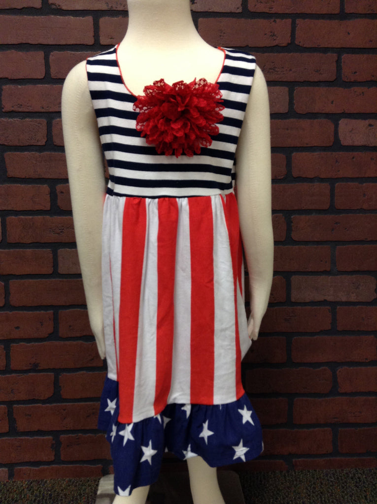 GIRLS NAVY STRIPED STAR DRESS
