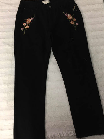 Embroidered Black Jeans