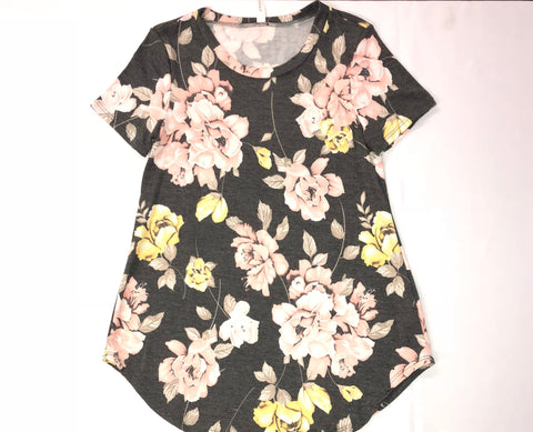 French Terry Floral Print Short Sleeve Top