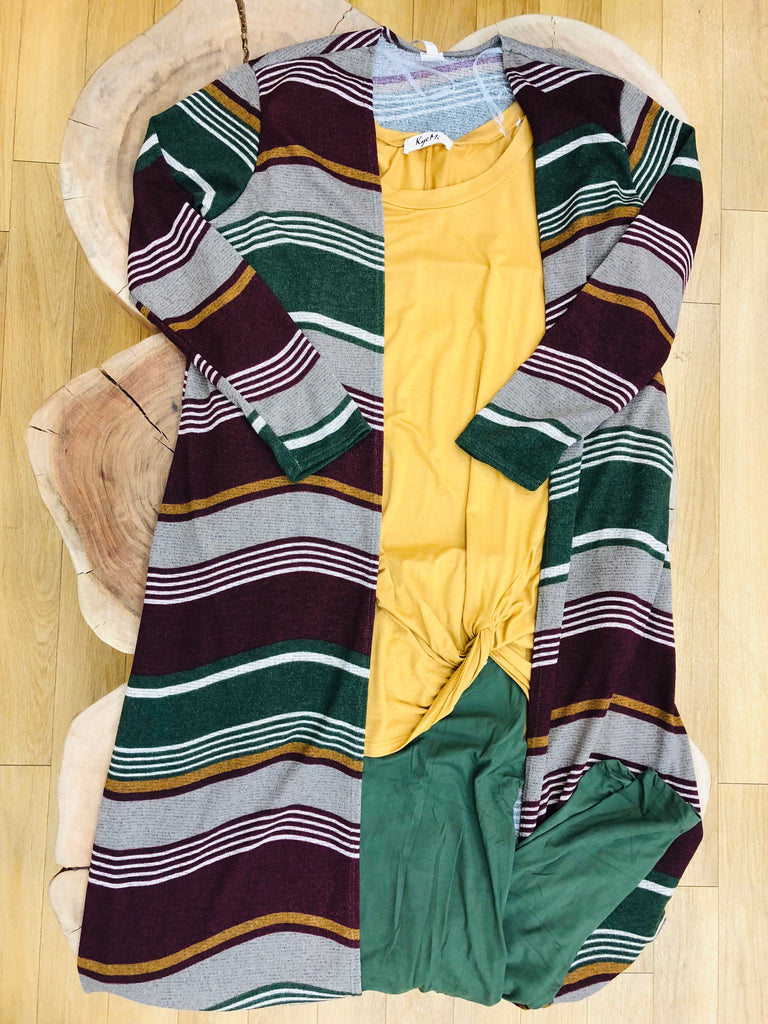 Multi Stripe Open Long Cardigan