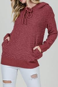 Cozy Knit Lace Up Hoodie Sweater