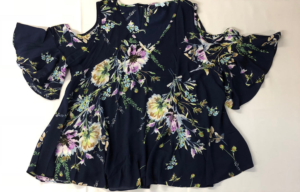 Bell Sleeve Cold Shoulder Floral Print Plus