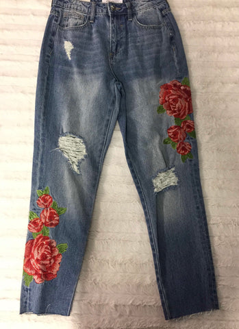 High rise girlfriend fray skinny with rose embroidered
