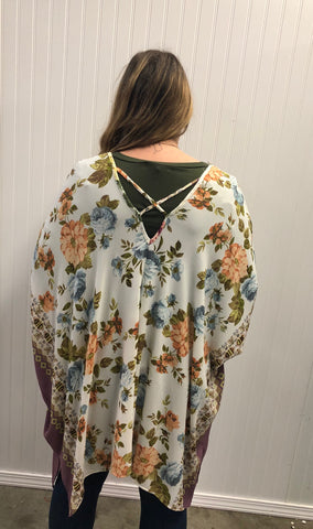 Border Floral Printed Knit Cardigan