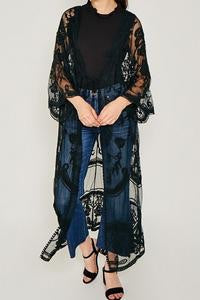 Sheer Lace Tie Front Kimono Duster