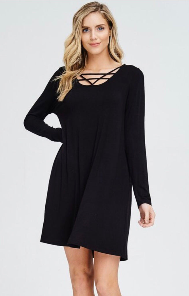 Long Sleeve Cross Front Tunic