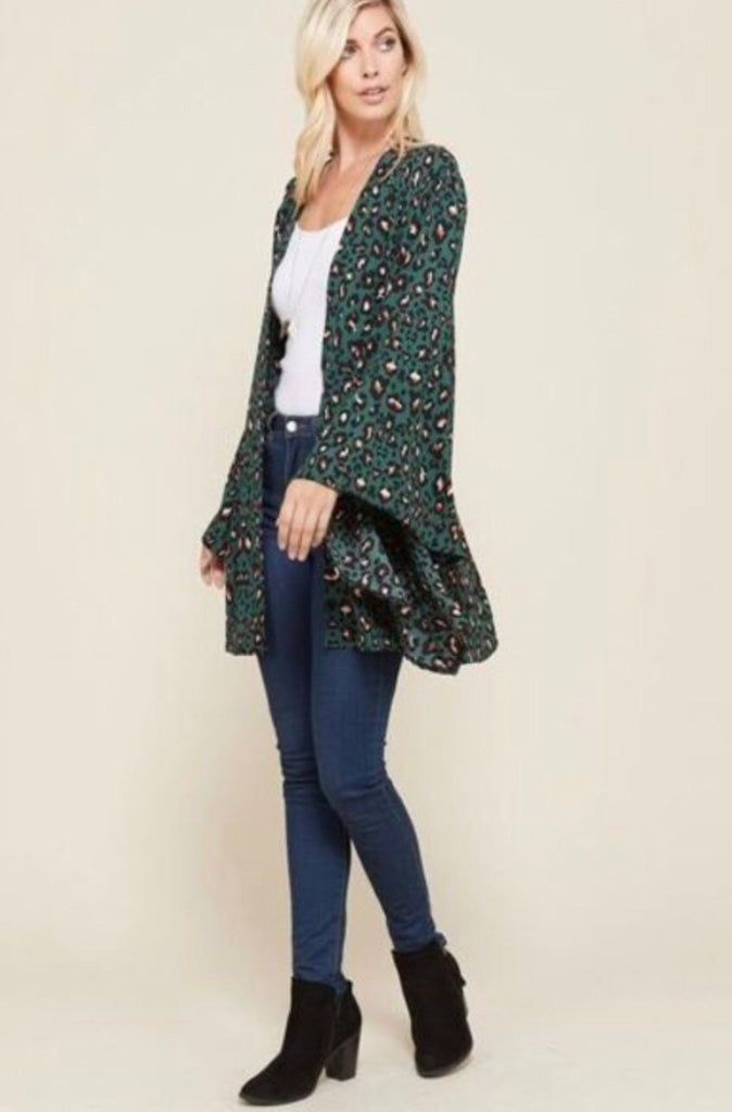 Hunter Green Leopard Plus Bell Sleeve Kimono
