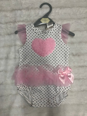 Baby Bodysuit with Organza Ruffle heart