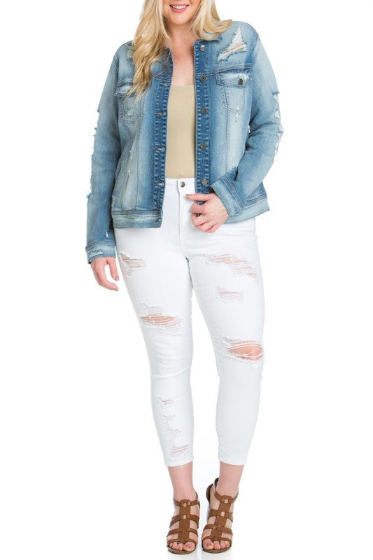 Light Faded Distressed Plus Denim Jacket