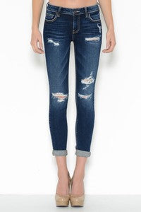 Mid Rise Crop Skinny Double Roll Cuff