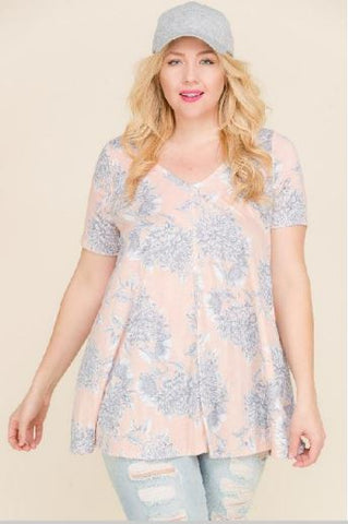 Faded Floral Plus Top