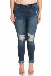 Plus Mid Rise Ankle Fray Skinny