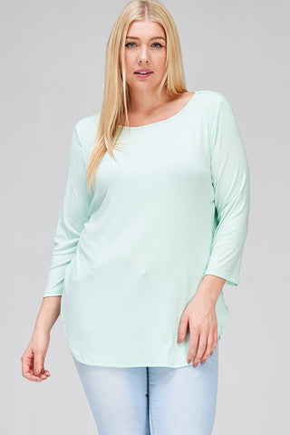 Round Neck 3/4 Sleeve Plus