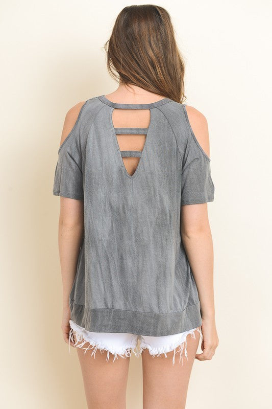 Tie Dyed Cold Shoulder Top