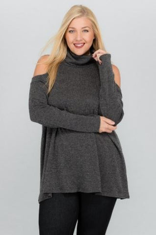 Plus Solid Sweater with Turtleneck Top