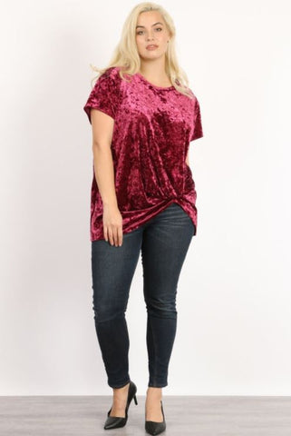 Short Sleeve Round Neck Top with Side Knot Plus