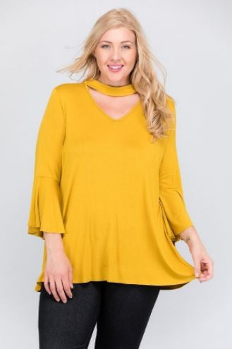 Plus Solid Jersey Top with Bell Sleeves and Choker Neckline