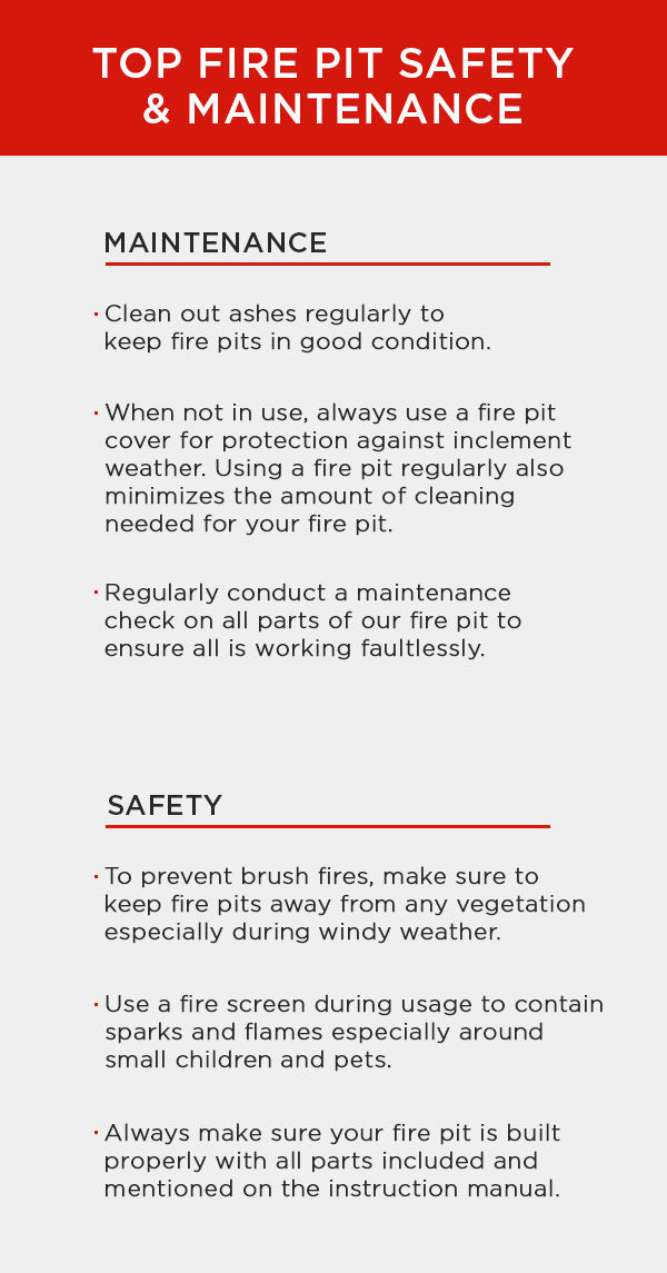 Fire Pit Safety and Maintenance Chart