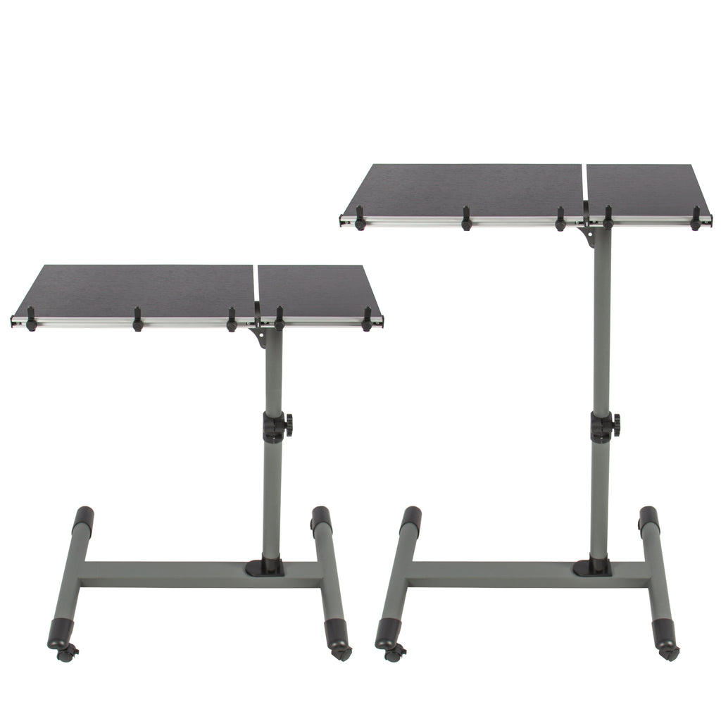 Adjustable Rolling Laptop Desk w/ Tilting Tabletop - Black