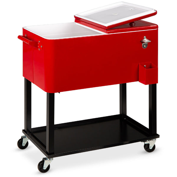 80-Quart Rolling Cooler Cart w/ Bottle Opener, Catch Tray - Red