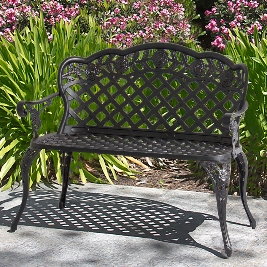 Cast Aluminum Patio Furniture Heart Pattern: Aluminum Bench For Patio, Garden W/ Lattice Back And Seat
