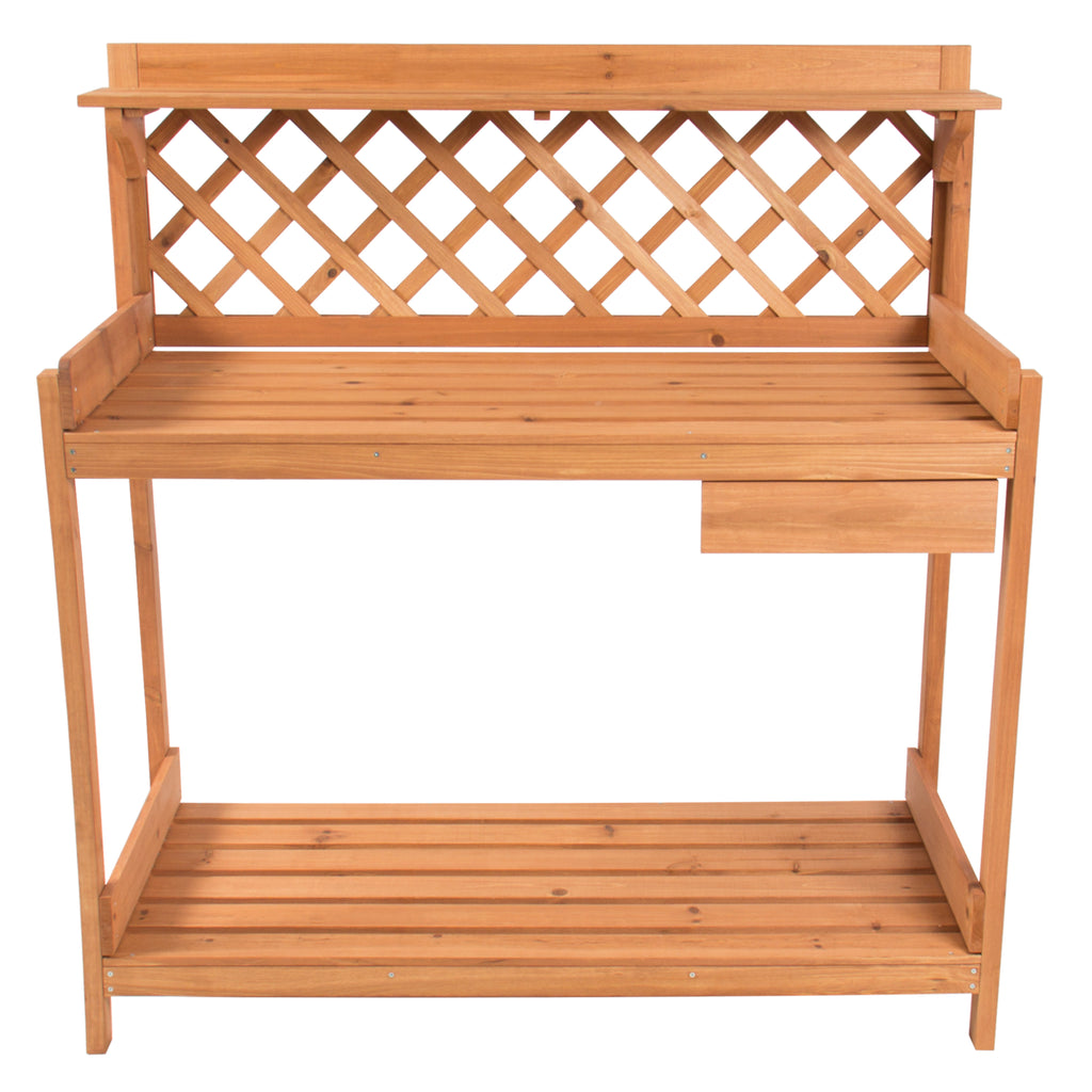 Wooden Potting Bench Workstation w/ Cabinet, Natural Wood Finish
