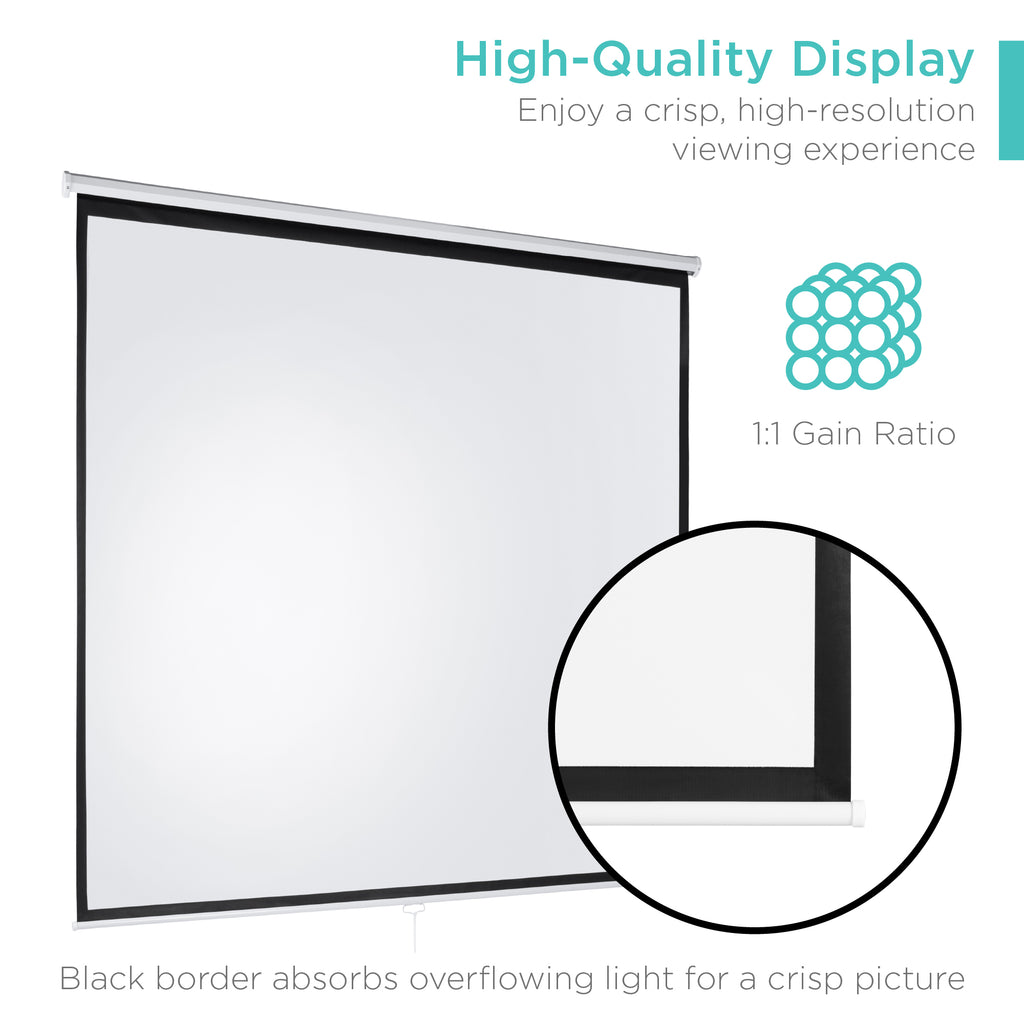 119in HD Pull-Down Manual Projector Screen - White