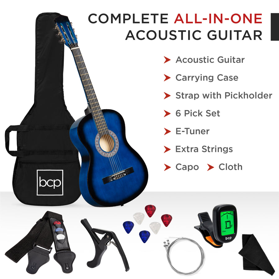 38in Beginner Acoustic Guitar Kit w/ Case, Strap, Tuner