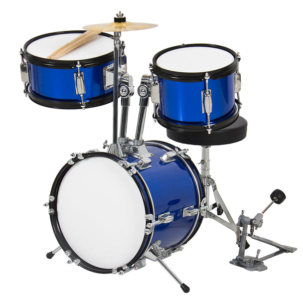 "Kids Drum Set 3 Pc 13"" Beginners Complete Set with Throne, Cymbal and More- Blue"
