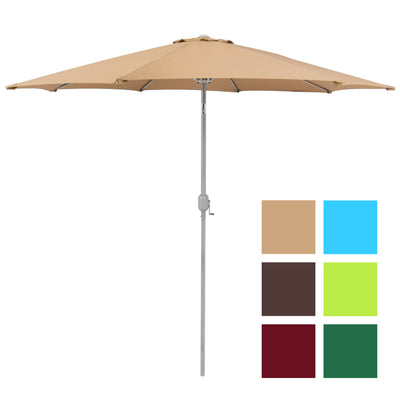 Patio Umbrella 9' Aluminum Patio Market Umbrella Tilt W/ Crank Outdoor Tan