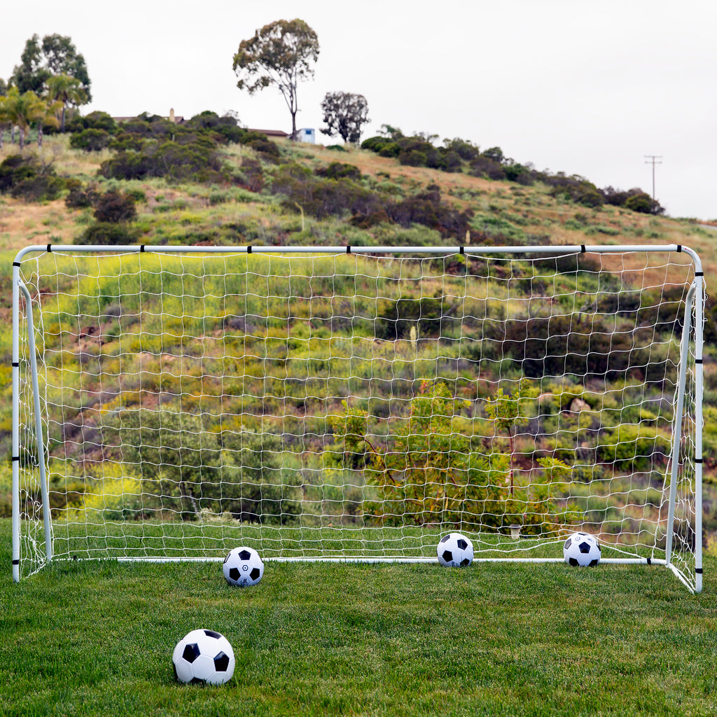 12x6ft Steel Soccer Goal w/ Net, Straps, and Anchors - White