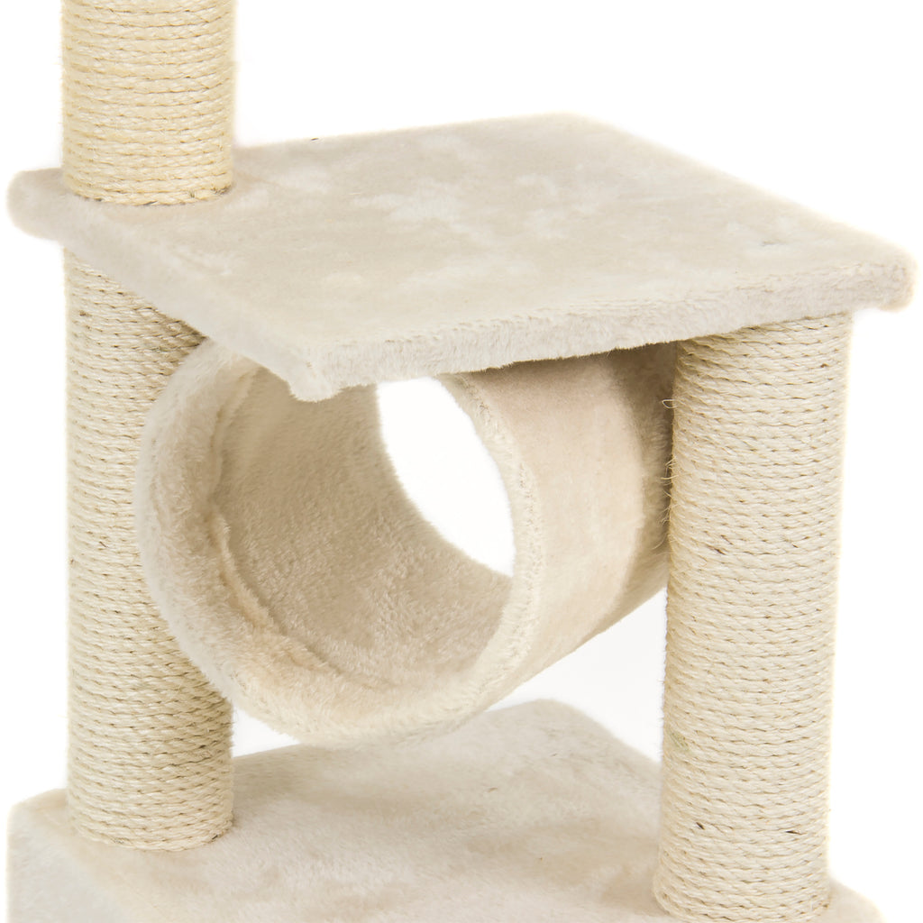 36in Cat Tree Tower w/ Condo, Scratcher, and Tunnel - Beige