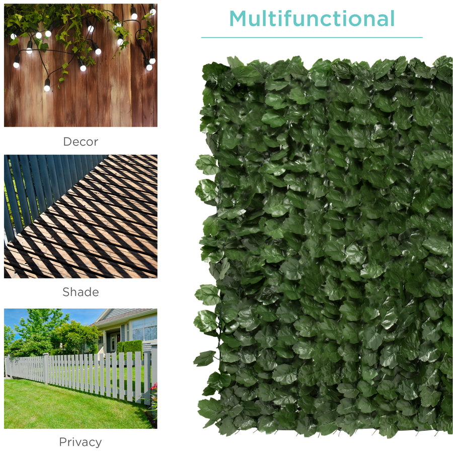94x59in Outdoor Faux Ivy Privacy Screen Fence Green