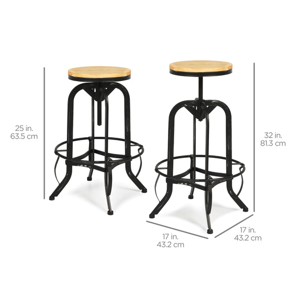 ... Vintage Bar Stool Industrial Metal Design Wood Top Adjustable Height Swivel ...  sc 1 st  Best Choice Products & Vintage Bar Stool Industrial Metal Design Wood Top Adjustable ... islam-shia.org