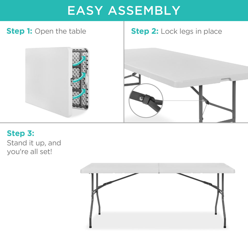 6ft Portable Folding Plastic Dining Table w/ Handle, Lock