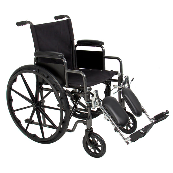 Folding Wheelchair w/ Armrests and Elevating Legrests - Black