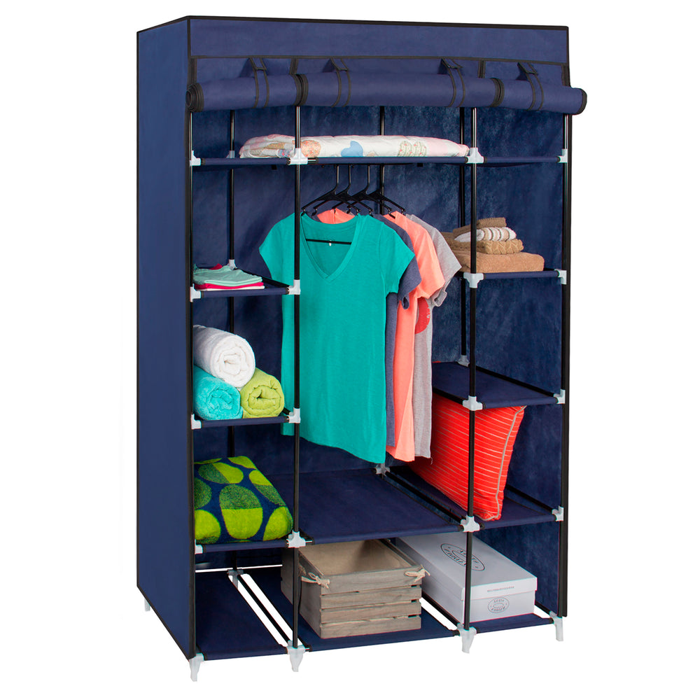 13-Shelf Portable Fabric Closet w/ Cover - Blue – Best Choice Products