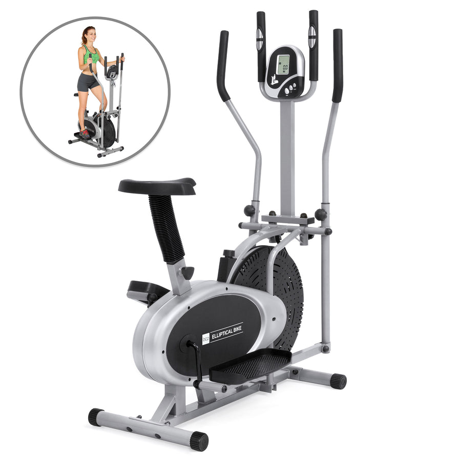 3572b35b10c 2-in-1 Elliptical Trainer Exercise Fitness Bike w  LCD Display - Gray