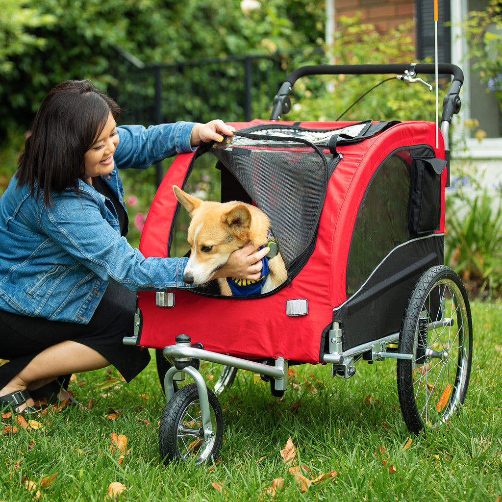 2 In 1 Pet Stroller And Trailer Red Best Choice Products